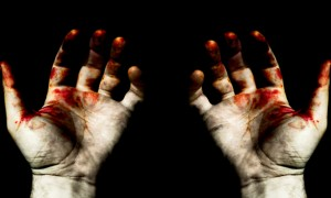Grunge styled image - hands in blood, isolated from the background